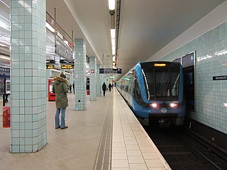 Stockholm metro - A C20 train on line 17 at Hötorget station