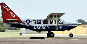 GippsAero - A US Civil Air Patrol GA8 Airvan on takeoff from West Houston Airport during a mission following Hurricane Rita in 2005.
