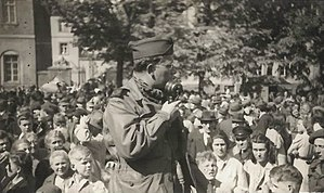Bill Downs - Bill Downs broadcasting from Lüneburg, Germany on V-E Day, May 8, 1945