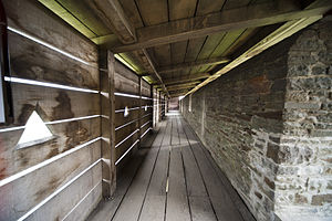 Hoarding (castle) - The interior of a reconstructed hoarding at Caerphilly Castle, Wales.