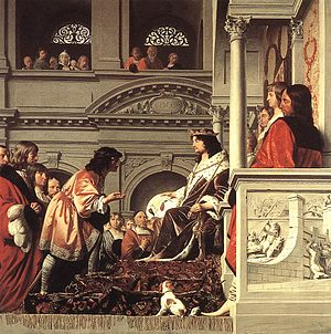 William II of Holland - Count Willem II of Holland Granting Privileges by Caesar van Everdingen and Pieter Post, 1654
