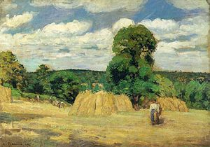 Psalm 129 - Harvest, Camille Pissarro. Psalm 129 uses several images of farm life, including that of harvest, in verses 6 and 7.