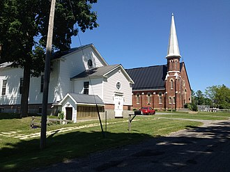 Canton, Ontario - 1832 chapel (foreground) and 1876 church