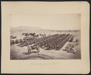 Sherpur Cantonment - Sir Frederick Roberts, commander of the Kabul Field Force, and his staff on horseback inspecting captured Afghan artillery in the Sherpur Cantonment, then 1.5 kilometers north of Kabul, during the Second Anglo-Afghan War