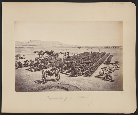 Roberts and his staff on horseback inspecting captured Afghan artillery in the Sherpur Cantonment, 1.5 kilometers north of Kabul. British artillery was usually superior to Afghan armament, but occasionally it was ineffective, as at the Battle of Maiwand in July 1880 Captured Guns, Kabul WDL11485.png