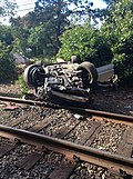 Car Flipped Near LIRR Tracks (29633759545).jpg