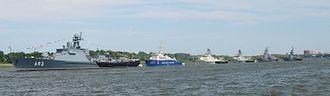 Caspian Flotilla - The ships of the Caspian flotilla parade in Astrakhan in 2012