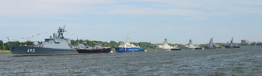The ships of the Caspian flotilla parade in Astrakhan in 2012