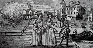 Marian exiles - Catherine Willoughby, Duchess of Suffolk, fleeing Catholic England with her husband Richard Bertie, her daughter Susan and a wetnurse.