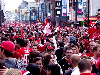 Ice hockey at the 2010 Winter Olympics – Men's tournament - Crowds take to the streets of Vancouver to celebrate Canada's win in the gold medal game