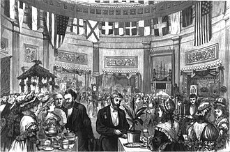 American tea culture - A tea party held in the U.S. Capitol in honor of America's Centennial, 1875, in this engraving, Carl Schurz the senator from Missouri is standing at the tea table on the left