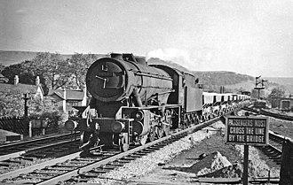 Chapel-en-le-Frith - Locomotive approaching the former Chapel-en-le-Frith Central in 1957
