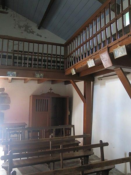 Nave of the chapel of Saint Lawrence of Guermiette in Saint-Étienne-de-Baïgorry (Pyrénées-Atlantiques, France).