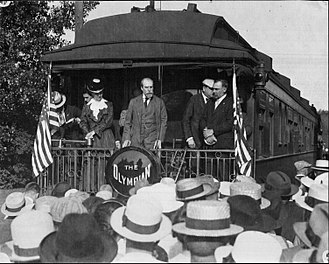 Charles Evans Hughes - Hughes in Winona, Minnesota, during the 1916 presidential campaign campaigning on the Olympian