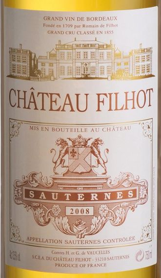 Château Filhot - Image: Chateau filhot 2008 bottle label