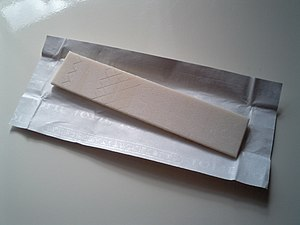 Stick type of Chewing gum that includes xylitol.