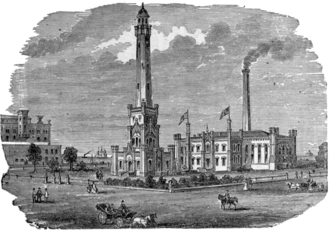 Chicago Water Tower - Chicago Water Tower and Chicago Avenue Pumping Station, circa 1886