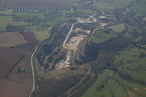 Breedon on the Hill - Aerial view, showing church and quarry
