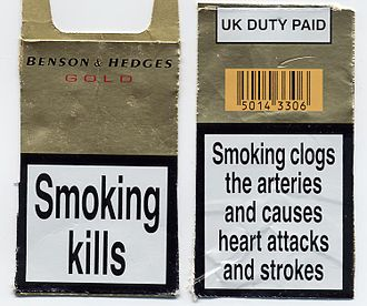 Regulation of nicotine marketing - Many governments now require tobacco packaging to carry health warnings