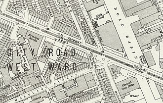 City Road tube station - City Road station on a 1916 map