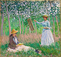 Claude Monet - In the Woods at Giverny- Blanche Hoschedé at Her Easel with Suzanne Hoschedé Reading - Google Art Project.jpg