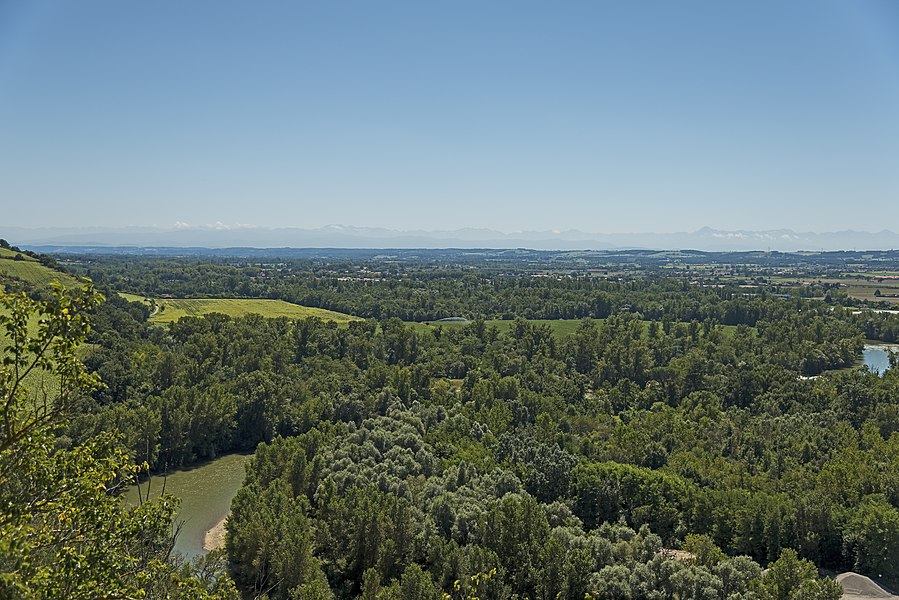 English:  Clermont-le-Fort, Haute-Garonne France, view of the Pyrenees and Ariege river.