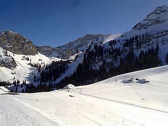 Col de Jaman - View of the pass with the Dent de Jaman (right summit)