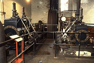 Compound steam engine - The Coldharbour Mill Pollit and Wigzell cross-compound engine, which drives the rope race seen in the background, transmitting power to line shafts on all five levels of the mill.