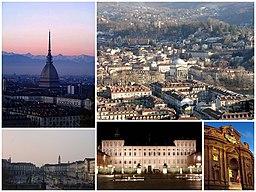 Over venstre:   Mole Antonelliana.   Over højre:   by panorama.   Neden for venstre:   Piazza Vittorio Veneto.   Neden for mellemste:   Palazzo Reale.   Neden for højre:   Museo del Risorgimento.