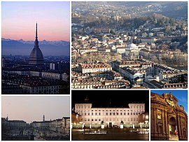 A collage of Turin: in the top left is the Mole Antonelliana, followed by a view of the city under the snow, the Piazza Vittorio Veneto, the Royal Palace of Turin and the Museo del Risorgimento (Palazzo Carignano)