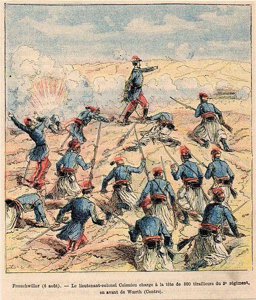 Colonieu chargeant avec 500 tirailleurs du 2eme régiment