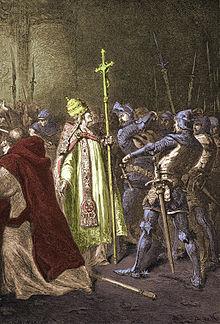 L'oltraggio di Sciarra Colonna a Bonifacio VIII, incisione francese del XIX secolo