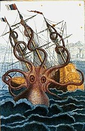 Coloured drawing of a huge octopus rising from the sea and attacking a sailing ship's three masts with its spiralling arms