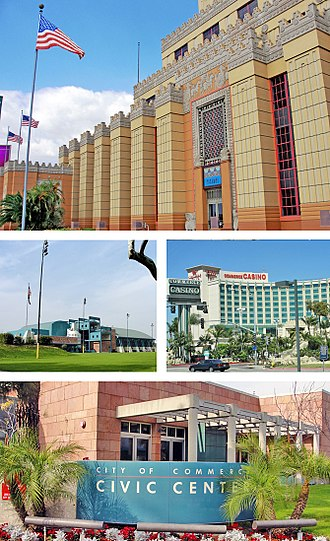 Commerce, California - Images, from top, left to right: Citadel Outlets, Rosewood Park and Aquatorium, Commerce Casino, Civic Center