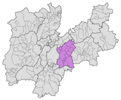 Location of Alta Valsugana e Bersntol within Trentino.