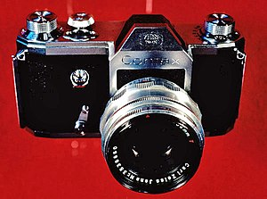 Single-lens reflex camera - The historic Zeiss Ikon VEB Contax S, manufactured in Dresden, one of the two original pentaprism SLRs for eye-level viewing that went into production in 1949. The Italian Rectaflex offered its first production SLR, the series 1000, the same year.