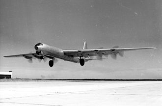 Convair B-36 Peacemaker - The XB-36 showing the giant single tires. Production aircraft had a four-wheel main gear instead.