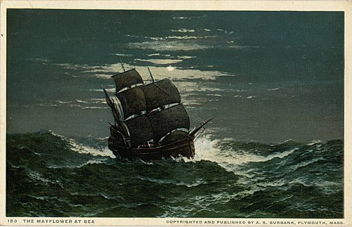 Copyrighted and Published by A S Burbank, The Mayflower at Sea (NBY 21340)