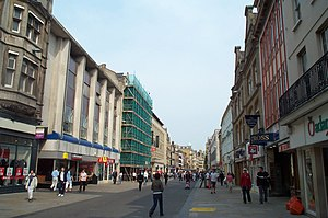 Cornmarket Street - Cornmarket seen from the south, 2004; notice the newly installed benches of unusual shape