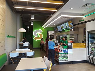 Subway (restaurant) - Interior of a Subway franchise in Huntington, Virginia designed in the new style.