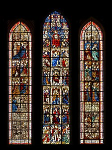 Stained glass windows depicting the Last Judgment (15th century) - Coutances Cathedral - Coutances, Manche, France.