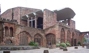 Arup Group - Coventry Cathedral, showing the new building by Arup in the background.