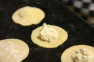 Crab and mascarpone filling on ravioli.
