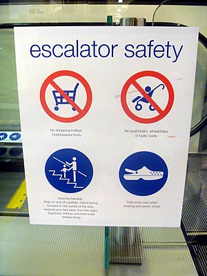 Crocs - Escalator safety sign warns: Take extra care when wearing soft plastic shoes