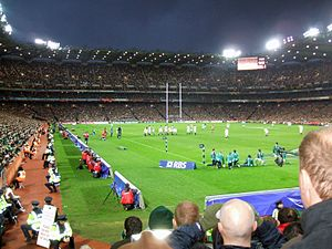Croke Park - Croke Park floodlights in use during Six Nations Championship match
