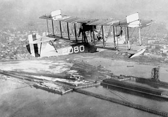Curtiss HS - An HS-2L over Pensacola, Florida in the 1920s.