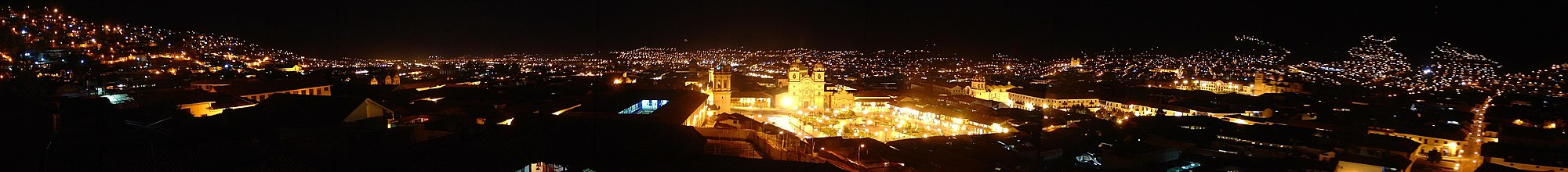 A panorama of Cusco by night