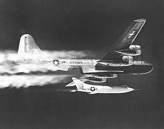 Armstrong Flight Research Center - NACA's Douglas D-558-II Skyrocket being dropped from a B-29 Superfortress