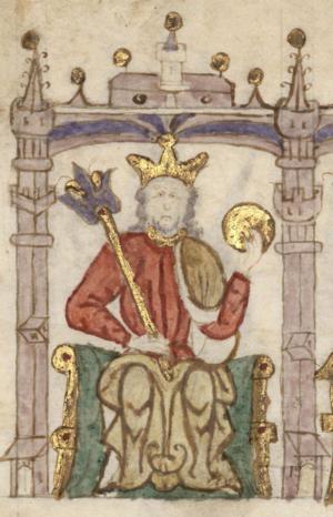 Sancho II of Portugal - King Sancho in Compendio de crónicas de reyes del Antiguo Testamento, gentiles, cónsules y emperadores romanos, reyes godos y de los reinos de Castilla, Aragón, Navarra y Portugal (c. 1312-1325)