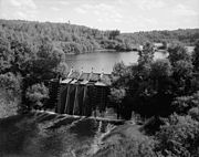 A timber crib dam in Michigan, photographed in 1978.